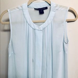 French Connection Blue Sheer Blouse
